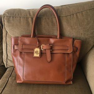 Ralph Lauren chestnut leather handbag